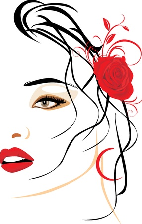 Portrait of beautiful woman with red rose in hair