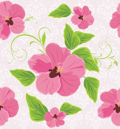 Decorative background with pink flowers mural
