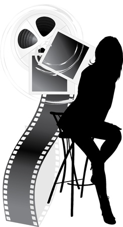 Illustration for Female silhouette and film objects isolated on the white - Royalty Free Image