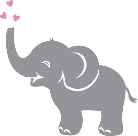 Illustration pour Funny baby elephant with hearts - image libre de droit