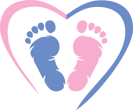 Photo for Multicolored footprint with heart icon - Royalty Free Image