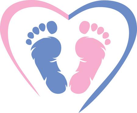 Foto de Multicolored footprint with heart icon - Imagen libre de derechos