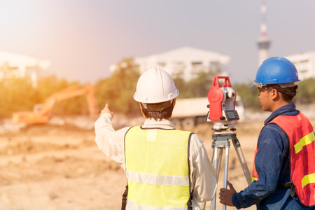 Photo for Construction engineer with foreman worker checking construction site for new Infrastructure construction project. photo concept for engineering work. - Royalty Free Image