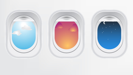 Illustration pour Window of airplane aircraft (long flight concept). Creative design of travel by plane. Interior of aircraft with day sunset and night of view from Porthole. - image libre de droit