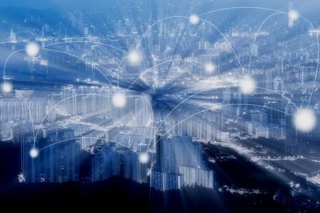 Foto de Blue Tone Hong Kong cityscape and network in abstract science or technology concept - Imagen libre de derechos