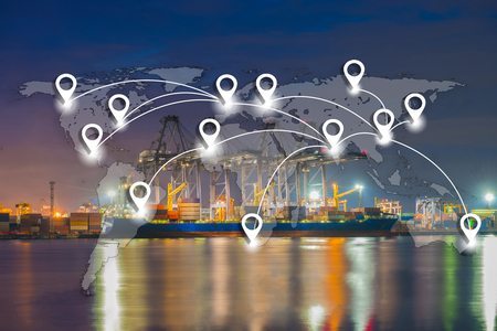 Foto für Map pin flat network conection on world global logistics and transportation connection of industrial port with containers cargo ship background (Elements of this image furnished by NASA) - Lizenzfreies Bild