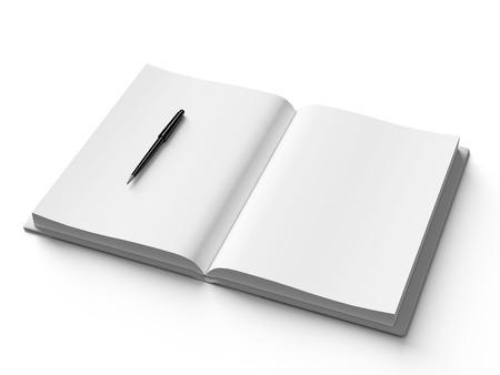 Photo pour Black pen on white open book, on white background, concept - image libre de droit