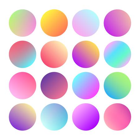Foto de Rounded holographic gradient sphere button. Multicolor green purple yellow orange pink cyan fluid circle gradients, colorful soft round buttons or vivid color spheres flat vector set - Imagen libre de derechos