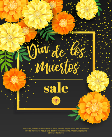 Illustration pour Festive flyer of Day of the Dead sale. Dark background with yellow marigold and golden confetti. Vector illustration for seasonal discount offer - image libre de droit