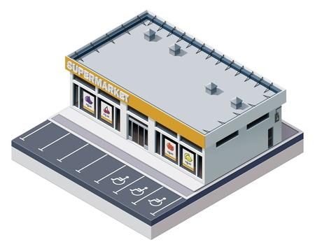 Foto de Vector isometric supermarket building - Imagen libre de derechos