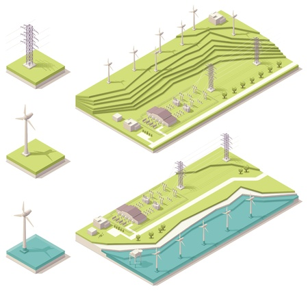 Illustration pour Isometric wind farm  - image libre de droit