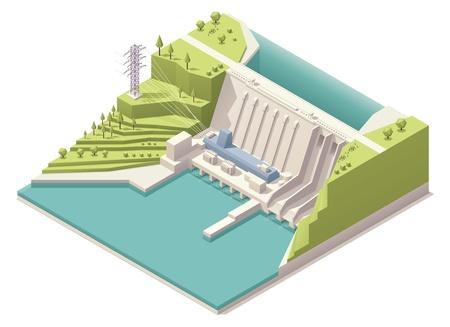 Illustration pour Isometric hydroelectric power station - image libre de droit