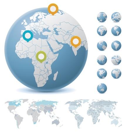 Illustration pour World maps and globes - image libre de droit
