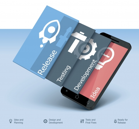Ilustración de Vector mobile app development icon - Imagen libre de derechos