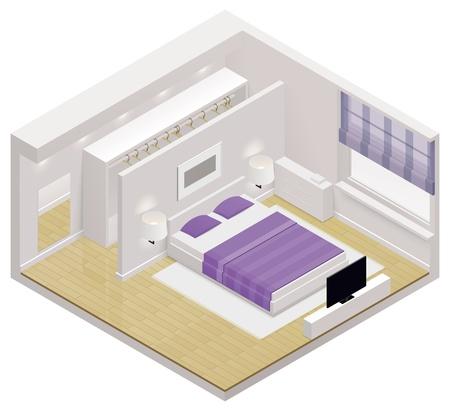 Illustration pour isometric bedroom icon - image libre de droit