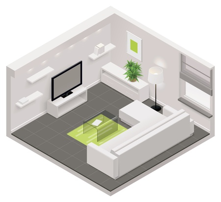 Illustration pour isometric living room icon - image libre de droit