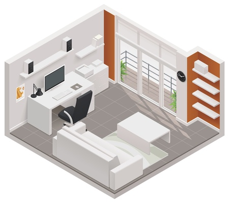 Illustration pour isometric working room icon - image libre de droit