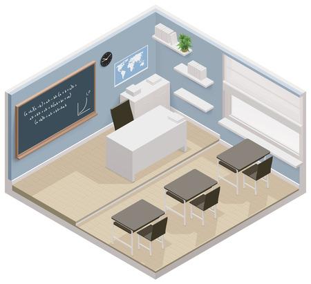 Illustration pour isometric classroom icon - image libre de droit