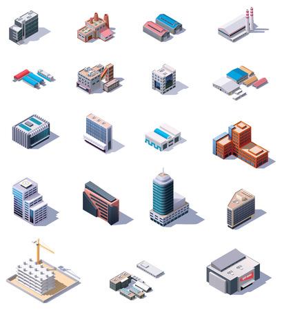 Illustration pour Isometric factory and office buildings set - image libre de droit