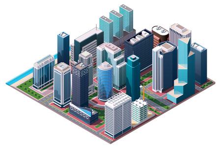 Illustration pour isometric city center map - image libre de droit