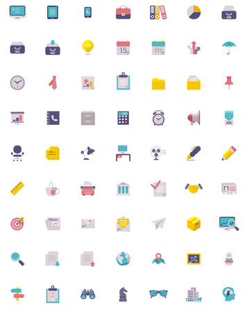 Illustration for Flat business and office  icon set - Royalty Free Image
