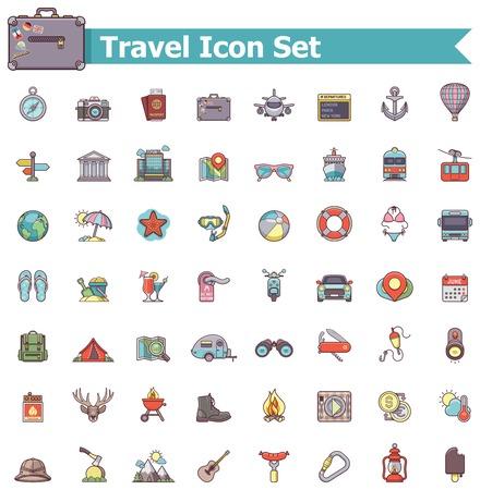 Ilustración de Set of the travel related icons - Imagen libre de derechos