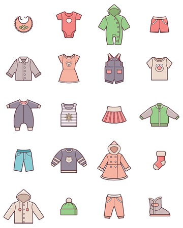 Illustration for Set of the baby clothes icons - Royalty Free Image