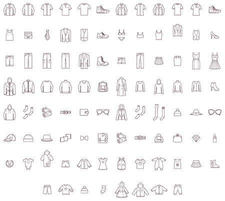 Illustration pour Set of the men, women and baby clothes - image libre de droit
