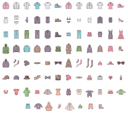 Illustrazione per Set of the men, women and baby clothes - Immagini Royalty Free