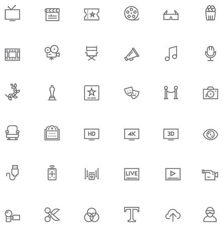 Illustration pour Set of the simple video and cinema related glyphs - image libre de droit
