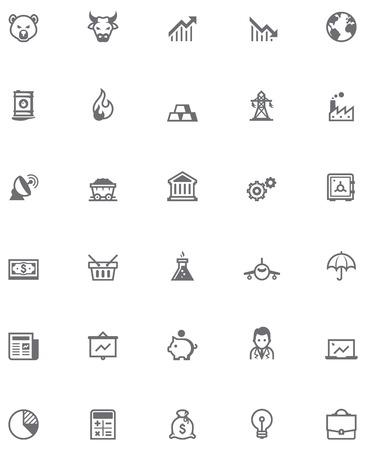Ilustración de Set of the stock market related icons - Imagen libre de derechos