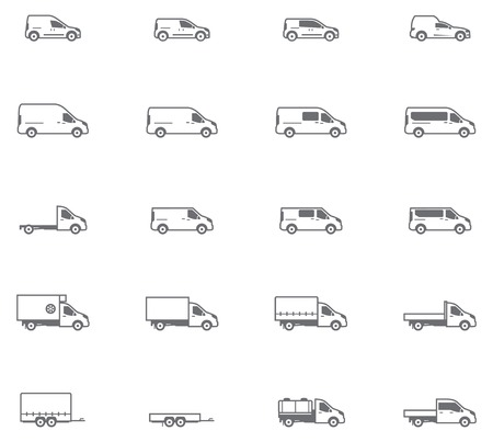 Illustration pour Set of the different types of commercial transport vehicles - image libre de droit