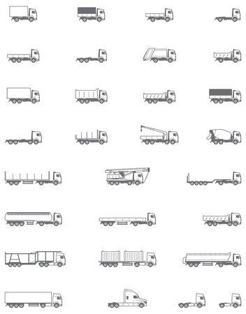 Illustration pour Set of the different types of trucks vehicles - image libre de droit