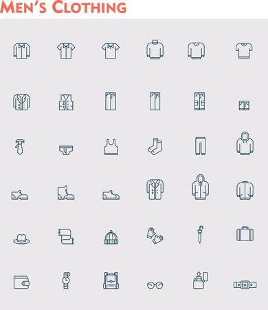 Illustration pour Set of the men clothes icons - image libre de droit