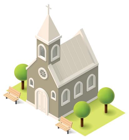 Illustration pour Vector isometric church building icon - image libre de droit