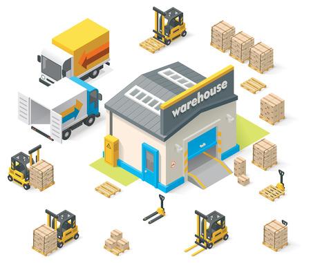 Illustrazione per Vector isometric warehouse - Immagini Royalty Free