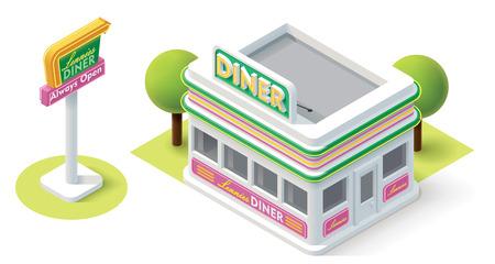 Foto de Vector isometric diner building icon - Imagen libre de derechos