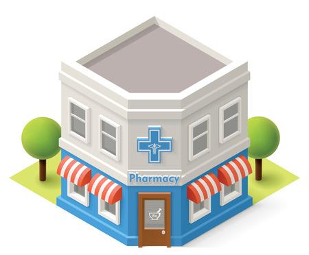 Illustration pour Vector isometric pharmacy building icon - image libre de droit