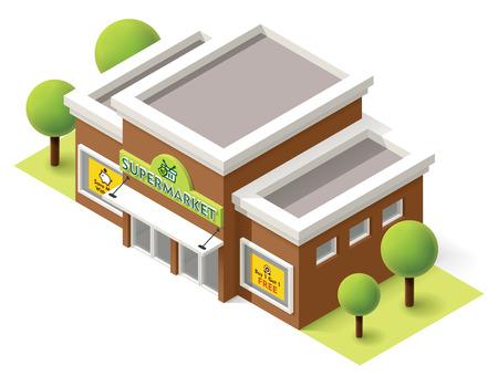 Ilustración de Vector isometric supermarket building icon - Imagen libre de derechos