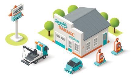 Illustration pour Vector isometric Car Service building icon - image libre de droit