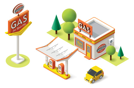 Foto de Vector isometric gas filling station building icon - Imagen libre de derechos