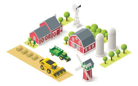 Illustration pour Isometric icons representing farm setting - image libre de droit