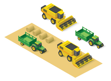 Illustration pour Isometric icons representing combine harvester and tractor - image libre de droit