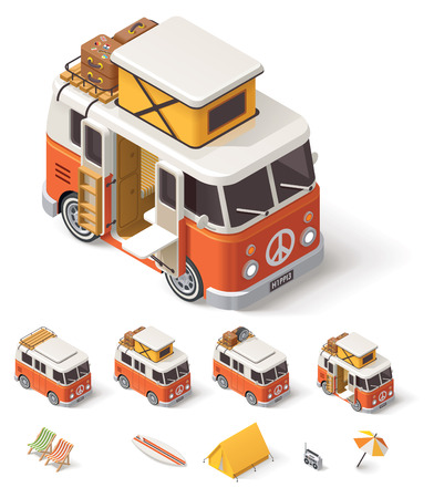 Ilustración de Isometric retro camper van and travelers equipment - Imagen libre de derechos