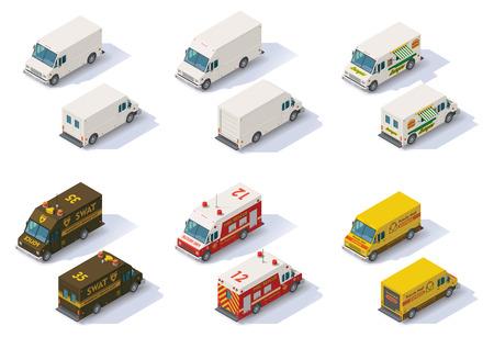 Illustration pour Set of the different types of isometric step vans, front end rear view - image libre de droit