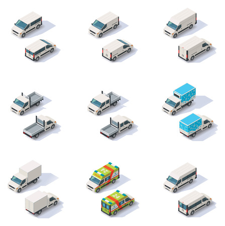 Foto de Set of the different types of isometric vans, front end rear view - Imagen libre de derechos