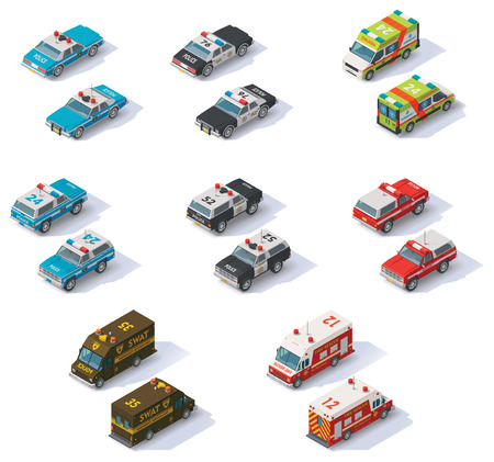 Photo pour Set of the isometric emergency services cars with front and rear views - image libre de droit