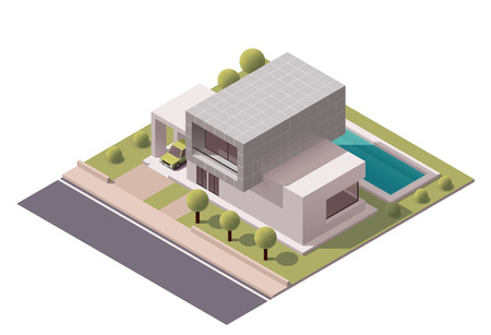 Illustration pour Isometric icon representing modern house with backyard - image libre de droit