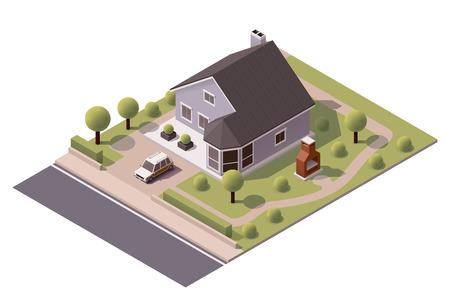 Ilustración de Isometric icon representing modern house with backyard - Imagen libre de derechos
