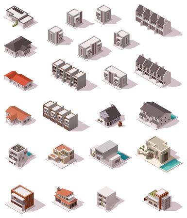 Ilustración de Vector isometric buildings set - Imagen libre de derechos